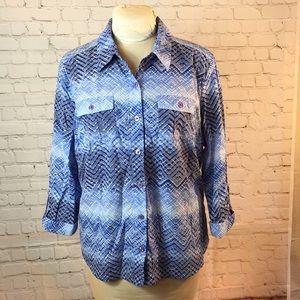 Studio Works blu print button down blouse